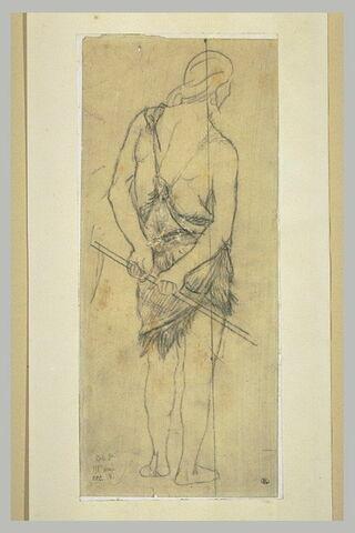 Homme vu de dos, vêtu d'une peau de bête, tenant un bâton