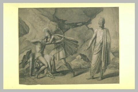 Guerrier saisissant un jeune homme bandant un arc vers un autre homme