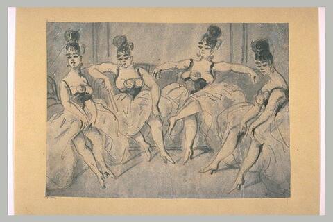 Quatre danseuses au repos, assises