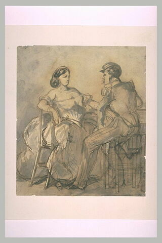 Militaire assis en face d'une femme portant une robe décolletée