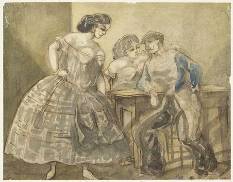 Militaire assis auprès d'une table en compagnie de deux femmes