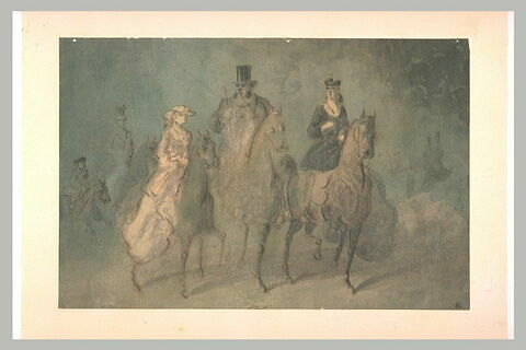 Cavaliers et amazone en promenade