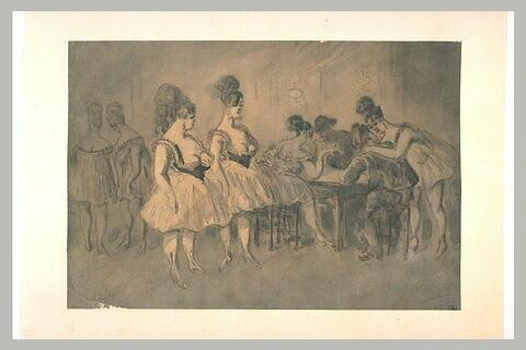 Hommes attablés en compagnie de femmes légèrement vêtues