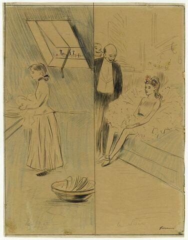 Jeune fille faisant la vaisselle, le matin, et la même, en danseuse, le soir