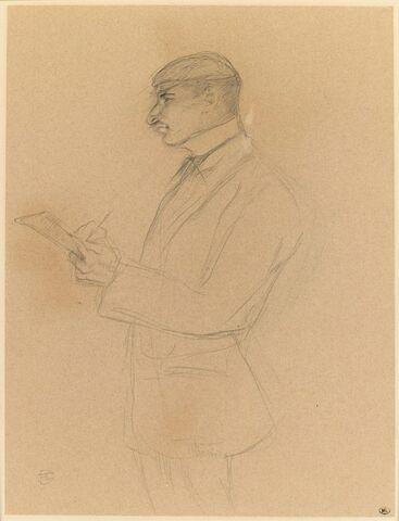Portrait de Louis Bouglé, un carnet à la main