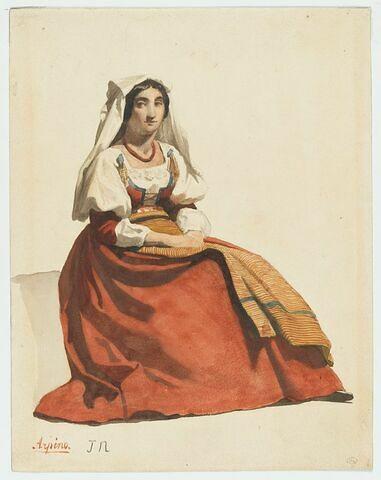 Paysanne italienne assise, les mains jointes sur le ventre, la tête de face