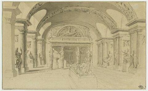 Vue de la salle des Cariatides au Louvre