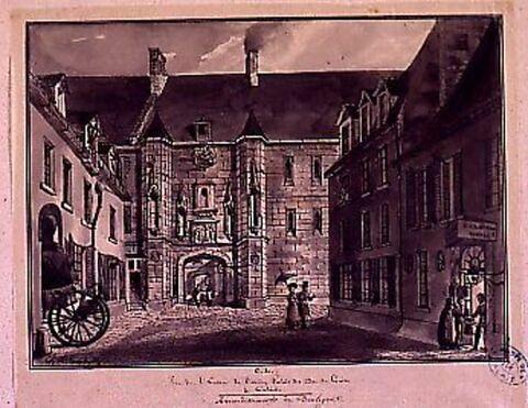 Vue de l'entrée de l'ancien palais des ducs de Guise à Calais