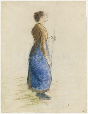 Jeune Fille debout, tenant des deux mains une baguette