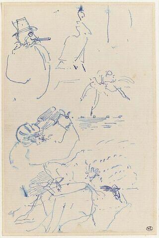 Croquis : homme coiffé d'un chapeau, silhouette de femme, et deux danseuses