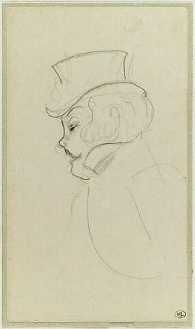 Réjane, coiffée d'un chapeau amazone, dans 'Madame Sans-Gène'