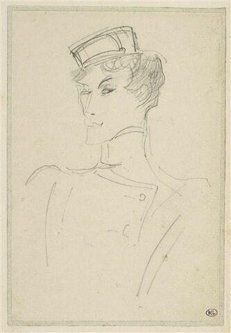 Eve Lavallière en buste, vêtue d'un costume de groom