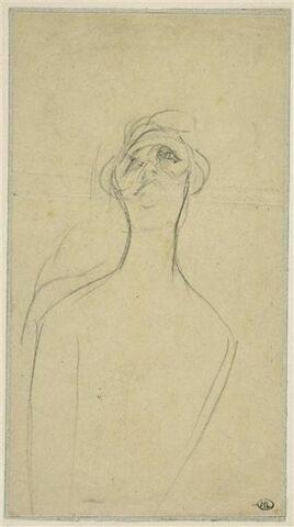 Yvette Guilbert, de face, la tête levée