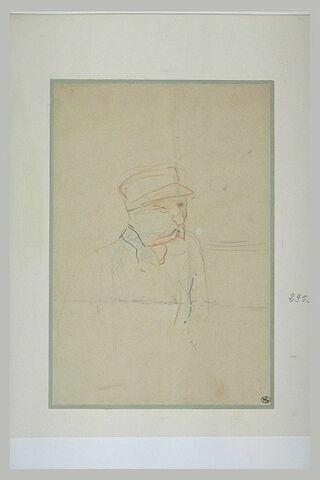 Homme, en buste, coiffé d'une casquette, les moustaches tombantes