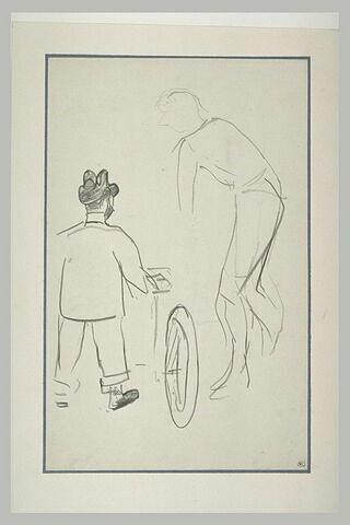 Lautrec de dos, semble tenir une bicyclette, et silhouette d'un cycliste