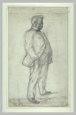 Portrait d'homme, la main droite dans la poche de son pantalon