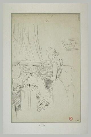 Malade est couché dans un lit, à droite une femme de chambre apporte un bol