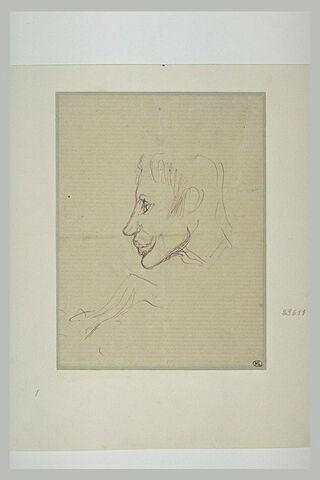 Tête d'homme, de profil, avec des lèvres épaisses