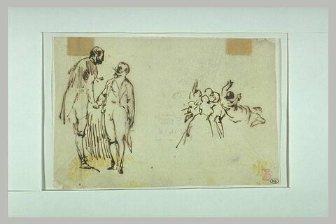 L'Empereur Napoléon III serre la main d'un personnage, personnages à droite