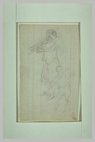 Deux silhouettes du Prince Impérial jouant du violon