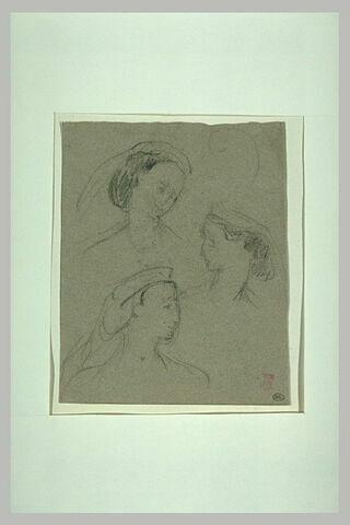 Trois croquis d'une même jeune femme coiffée d'un diadème