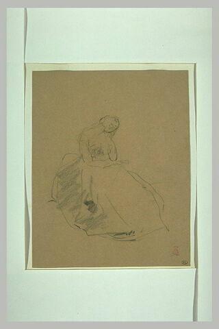 Croquis d'une jeune femme assise, la tête appuyée sur sa main gauche
