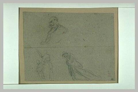 Croquis de l'Empereur, d'une femme agnouillée et d'une femme vue de dos
