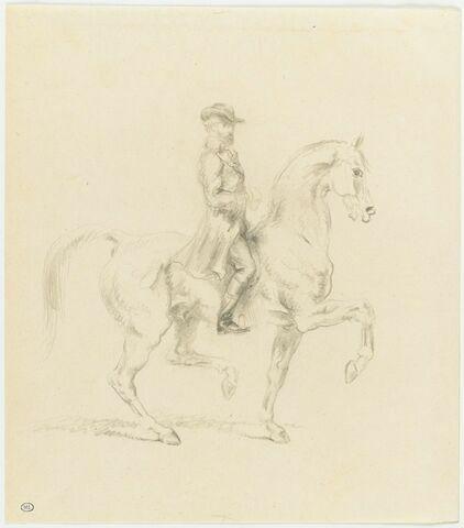 Anquetin à cheval, coiffé d'un chapeau à larges bords