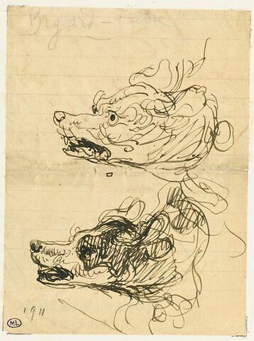 Deux études de la tête d'un chien, de profil, à gauche