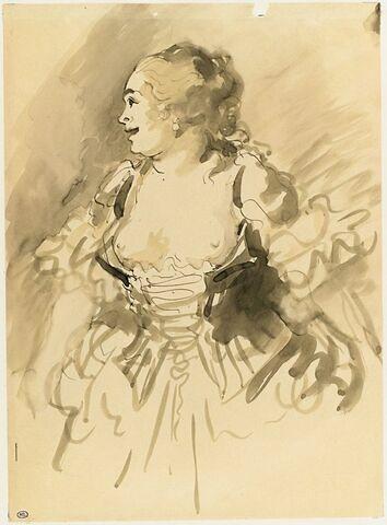 Femme debout au corselet ouvert