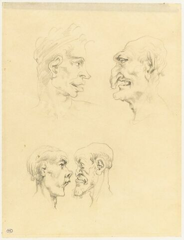 Quatre têtes caricaturales
