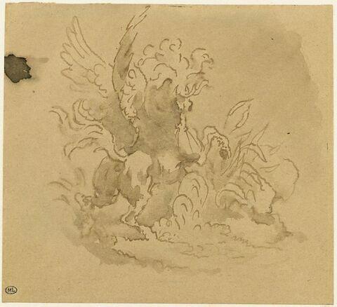 Pégase cabré, ailes déployées, crinière au vent
