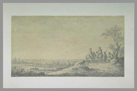 Deux cavaliers arrêtés près de trois hommes à pied, dans une plaine