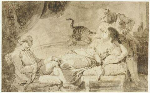 Deux hommes conversant avec une femme