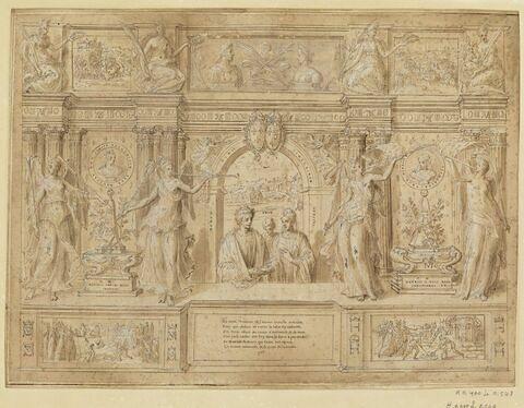 Frontispice avec deux personnages, symboles de Mausole et d'Artémise