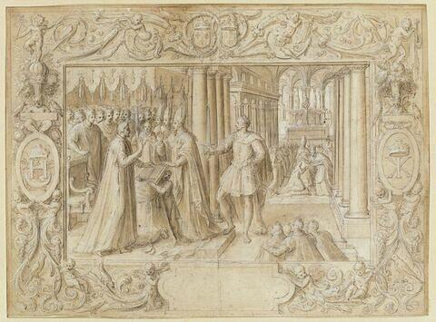 Sacre d'Henri II : le roi prête serment devant l'archevêque de Reims