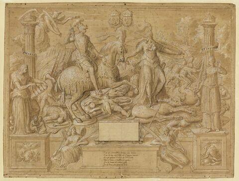 Frontispice du règne de Charles IX : allégorie des guerres religieuses