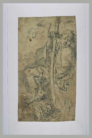 David assis avec la tête de Goliath à ses pieds
