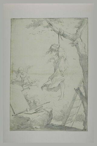 Jeune femme pendue à un arbre, devant une toile vierge, et une palette