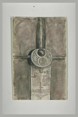 Garde d'épée en métal ciselé