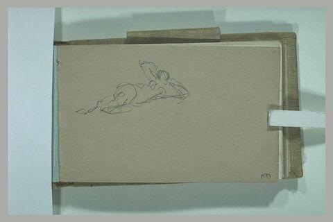 Figure féminine allongée, les bras relevés sous la tête