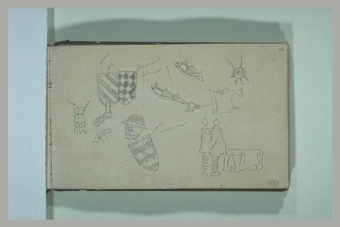 Divers croquis de boucliers ou écussons, sabres, figures et objets