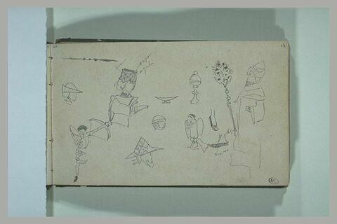 Lance ; divers croquis d'objets, et de figures