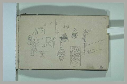 Divers croquis d'objets, et de figures