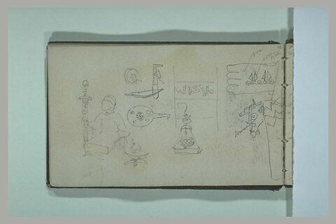 Divers croquis d'objets arabes, et de figures