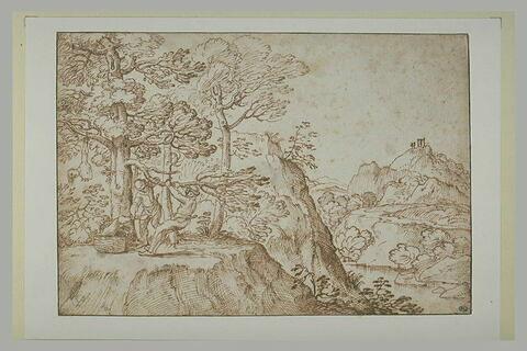 Deux paysans détachant d'un arbre le corps d'un pendu, dans un paysage
