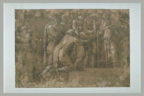 Histoire de Niobé : groupe de figures avec un prêtre