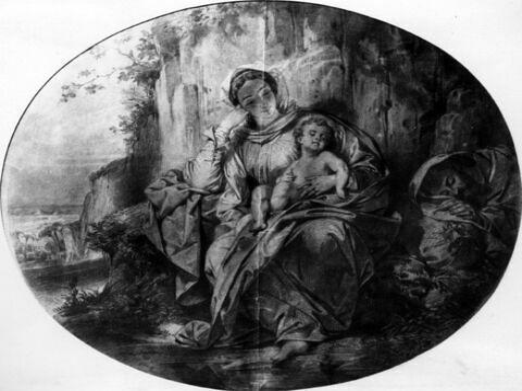 Sainte Famille : la Vierge tenant l'Enfant sur ses genoux, et saint Joseph