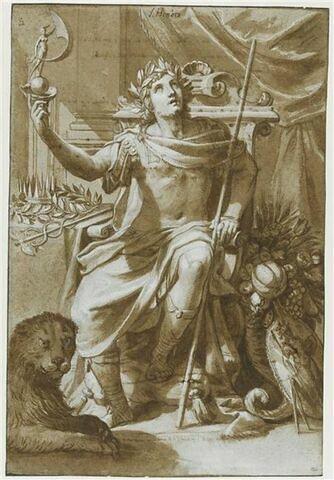 Allégorie de l'Honneur : jeune homme levant une statuette de la Fortune