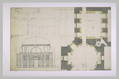 Plan et élévation : rotonde de Mars, salle de Diane, et projet